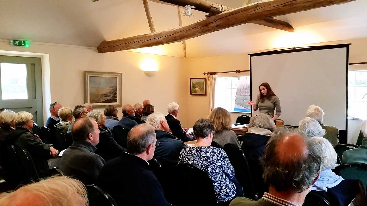 The meeting room at Croxton Park showingIsabella Roche giving her presentation